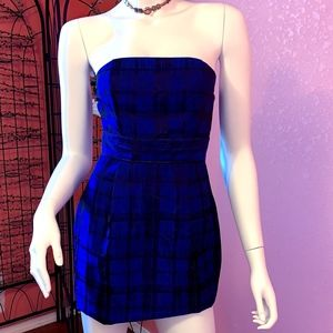 Blue Cocktail Mini Strapless Dress